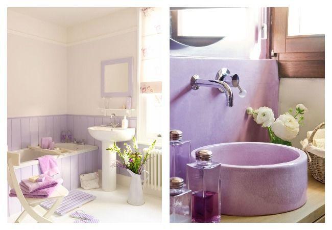 Сиреневый цвет в интерьере ванны фото