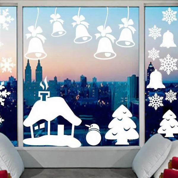 бумажное новогоднее украшение окна фото